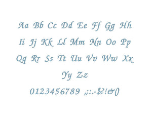 Chancery embroidery BX font Sizes 0.25 (1/4), 0.50 (1/2), 1, 1.5, 2, 2.5, 3, 3.5, 4, 4.5, 5, 5.5, 6, 6.5, and 7 inches
