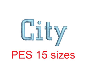 City embroidery font PES format 15 Sizes 0.25 (1/4), 0.5 (1/2), 1, 1.5, 2, 2.5, 3, 3.5, 4, 4.5, 5, 5.5, 6, 6.5, and 7 inches