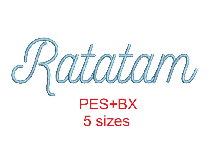 Ratatam embroidery font formats bx (which converts to 17 machine formats), + pes, Sizes 0.50 (1/2), 0.75 (3/4), 1, 1.5 and 2