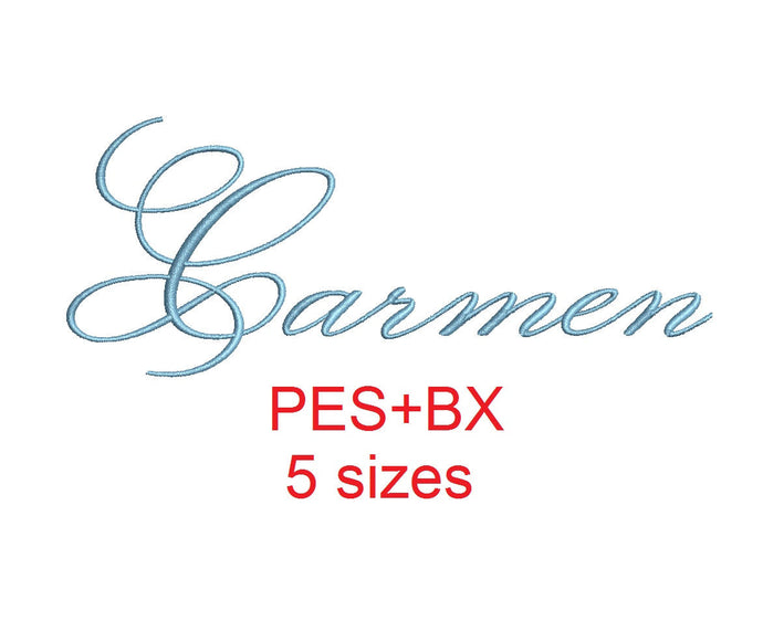 Carmen embroidery font formats bx (which converts to 17 machine formats), + pes, Sizes 0.50 (1/2), 0.75 (3/4), 1, 1.5 and 2