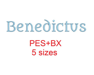 Benedictus embroidery font formats bx (which converts to 17 machine formats), + pes, Sizes 0.50 (1/2), 0.75 (3/4), 1, 1.5 and 2""