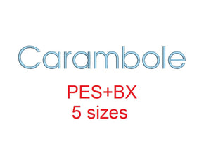 Carambole embroidery font formats bx (which converts to 17 machine formats), + pes, Sizes 0.50 (1/2), 0.75 (3/4), 1, 1.5 and 2""