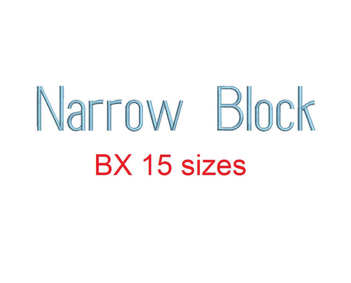 Narrow Block embroidery BX font Sizes 0.25 (1/4), 0.50 (1/2), 1, 1.5, 2, 2.5, 3, 3.5, 4, 4.5, 5, 5.5, 6, 6.5, and 7 inches