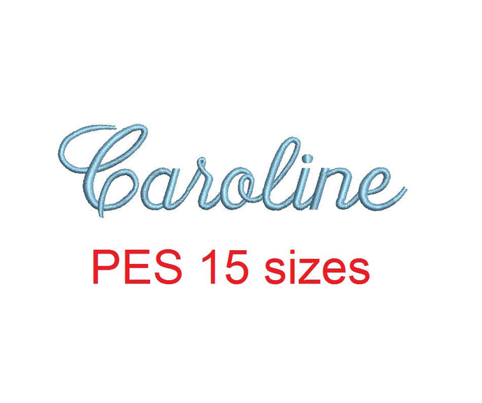 Caroline embroidery font PES format 15 Sizes 0.25 (1/4), 0.5 (1/2), 1, 1.5, 2, 2.5, 3, 3.5, 4, 4.5, 5, 5.5, 6, 6.5, and 7 inches