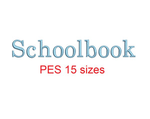 Schoolbook embroidery font PES format 15 Sizes 0.25 (1/4), 0.5 (1/2), 1, 1.5, 2, 2.5, 3, 3.5, 4, 4.5, 5, 5.5, 6, 6.5, and 7 inches