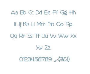 Zone 21 embroidery font formats bx (which converts to 17 machine formats), + pes, Sizes 0.50 (1/2), 0.75 (3/4), 1, 1.5 and 2""