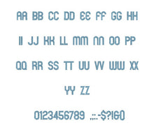Runway embroidery font formats bx (which converts to 17 machine formats), + pes, Sizes 0.50 (1/2), 0.75 (3/4), 1, 1.5 and 2""