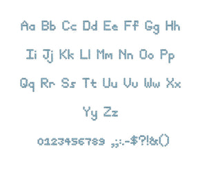 Telex embroidery font formats bx (which converts to 17 machine formats), + pes, Sizes 0.50 (1/2), 0.75 (3/4), 1, 1.5 and 2""