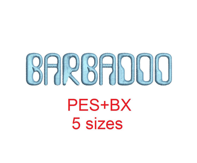 Barbadoo embroidery font formats bx (which converts to 17 machine formats), + pes, Sizes 0.50 (1/2), 0.75 (3/4), 1, 1.5 and 2