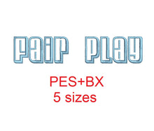 Fair Play embroidery font formats bx (which converts to 17 machine formats), + pes, Sizes 0.50 (1/2), 0.75 (3/4), 1, 1.5 and 2""