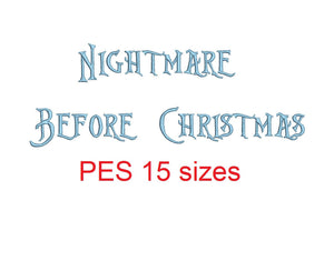 Nightmare Before Christmas embroidery font PES format 15 Sizes instant download