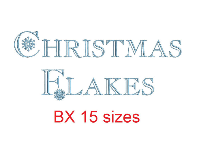 Christmas Flakes  embroidery BX font Sizes 0.25 (1/4), 0.50 (1/2), 1, 1.5, 2, 2.5, 3, 3.5, 4, 4.5, 5, 5.5, 6, 6.5, and 7 inches