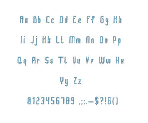 Tuc Tuc embroidery font formats bx (which converts to 17 machine formats), + pes, Sizes 0.50 (1/2), 0.75 (3/4), 1, 1.5 and 2""