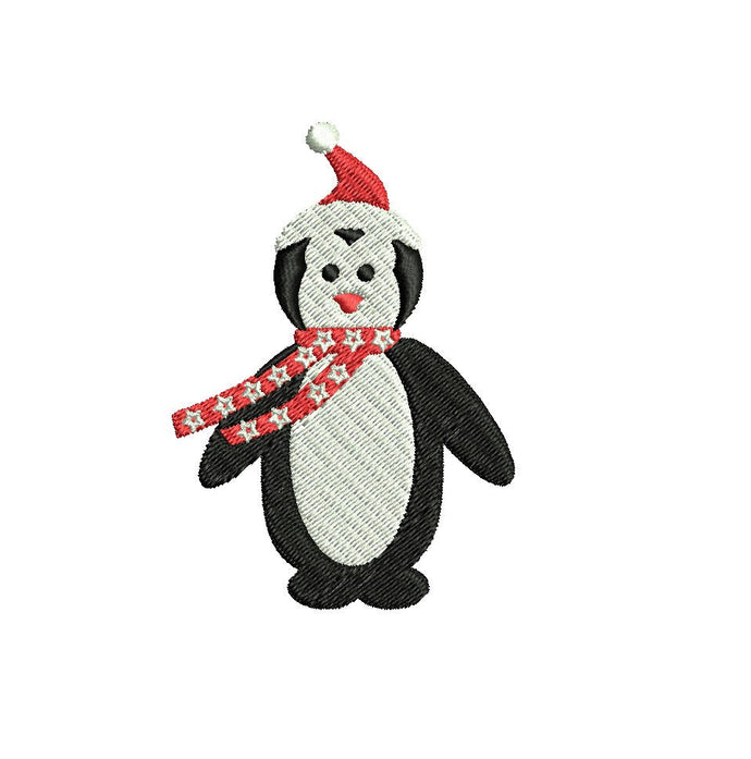Christmas Penguin embroidery design formats bx (17 machine formats), + pes, Sizes 3, 3.5, 3.8 (4x4 hoop), 4.5, 5, 5.5, and 6 inches