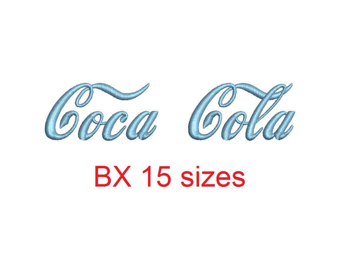 Coca Cola embroidery BX font Sizes 0.25 (1/4), 0.50 (1/2), 1, 1.5, 2, 2.5, 3, 3.5, 4, 4.5, 5, 5.5, 6, 6.5, and 7 inches