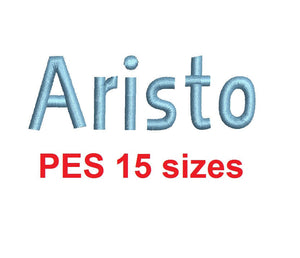 Aristo embroidery font PES format 15 Sizes instant download 0.25, 0.5, 1, 1.5, 2, 2.5, 3, 3.5, 4, 4.5, 5, 5.5, 6, 6.5, and 7 inches