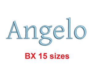 Angelo embroidery BX font Sizes 0.25 (1/4), 0.50 (1/2), 1, 1.5, 2, 2.5, 3, 3.5, 4, 4.5, 5, 5.5, 6, 6.5, and 7 inches