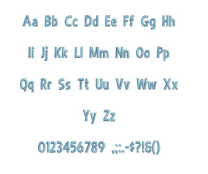 Aristo embroidery BX font Sizes 0.25 (1/4), 0.50 (1/2), 1, 1.5, 2, 2.5, 3, 3.5, 4, 4.5, 5, 5.5, 6, 6.5, and 7 inches