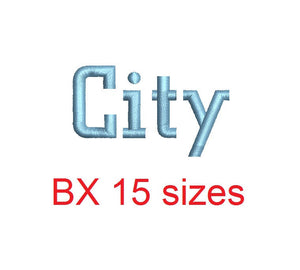 City embroidery BX font Sizes 0.25 (1/4), 0.50 (1/2), 1, 1.5, 2, 2.5, 3, 3.5, 4, 4.5, 5, 5.5, 6, 6.5, and 7 inches