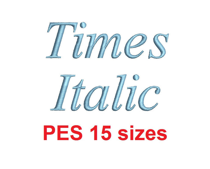 Times Italic embroidery font PES format 15 Sizes instant download 0.25, 0.5, 1, 1.5, 2, 2.5, 3, 3.5, 4, 4.5, 5, 5.5, 6, 6.5, and 7 inches