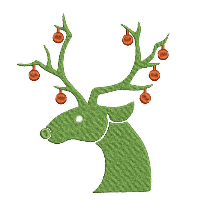 Reindeer with Christmas balls embroidery design  bx format (17 machine formats), + pes, 3, 3.5, 3.8 (4x4 hoop), 4.5, 5, 5.5, and 6 inches