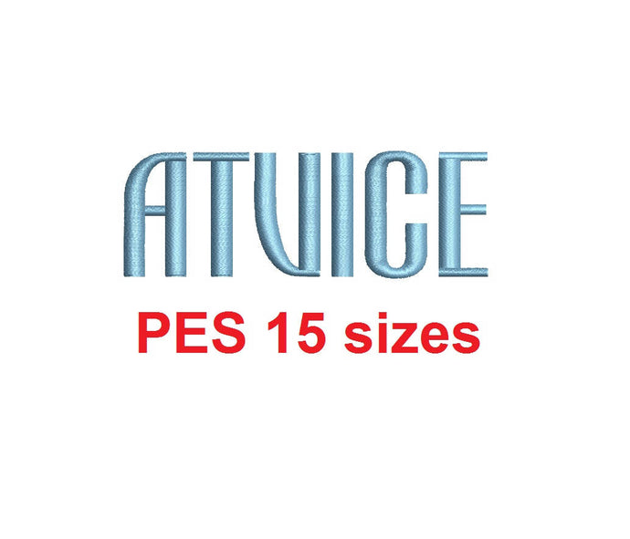 Atvice embroidery font PES format 15 Sizes 0.25 (1/4), 0.5 (1/2), 1, 1.5, 2, 2.5, 3, 3.5, 4, 4.5, 5, 5.5, 6, 6.5, and 7 inches
