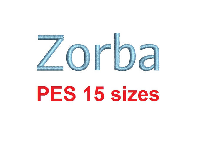 Zorba Block embroidery font PES format 15 Sizes 0.25 (1/4), 0.5 (1/2), 1, 1.5, 2, 2.5, 3, 3.5, 4, 4.5, 5, 5.5, 6, 6.5, and 7 inches