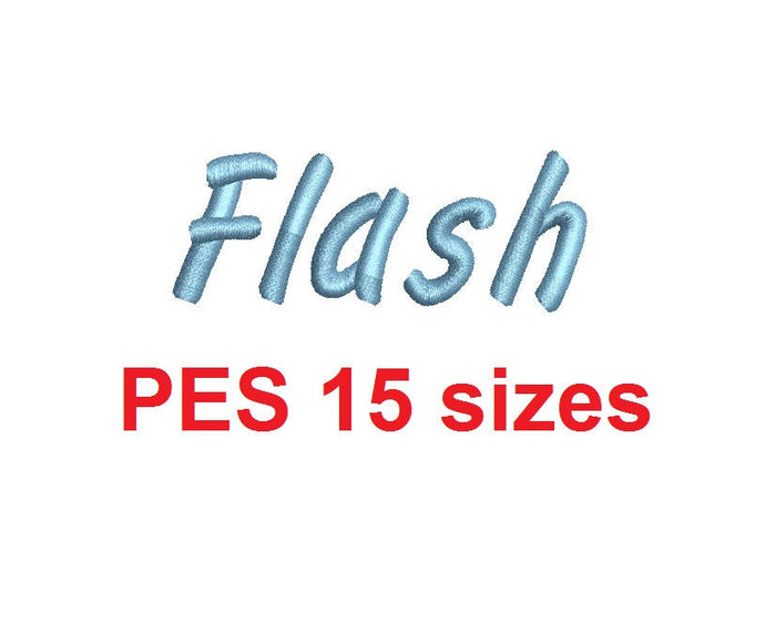 Flash Script embroidery font PES format 15 Sizes 0.25 (1/4), 0.5 (1/2), 1, 1.5, 2, 2.5, 3, 3.5, 4, 4.5, 5, 5.5, 6, 6.5, and 7 inches
