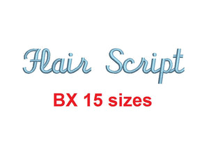 Flair Script embroidery BX font Sizes 0.25 (1/4), 0.50 (1/2), 1, 1.5, 2, 2.5, 3, 3.5, 4, 4.5, 5, 5.5, 6, 6.5, and 7 inches