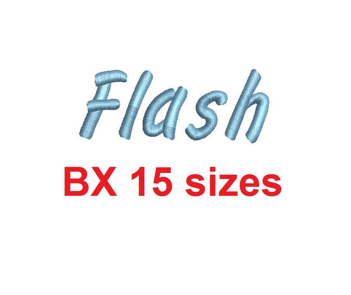Flash Script embroidery BX font Sizes 0.25 (1/4), 0.50 (1/2), 1, 1.5, 2, 2.5, 3, 3.5, 4, 4.5, 5, 5.5, 6, 6.5, and 7 inches