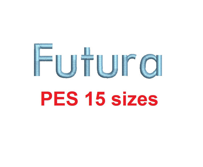 Futura embroidery font PES format 15 Sizes 0.25 (1/4), 0.5 (1/2), 1, 1.5, 2, 2.5, 3, 3.5, 4, 4.5, 5, 5.5, 6, 6.5, and 7 inches