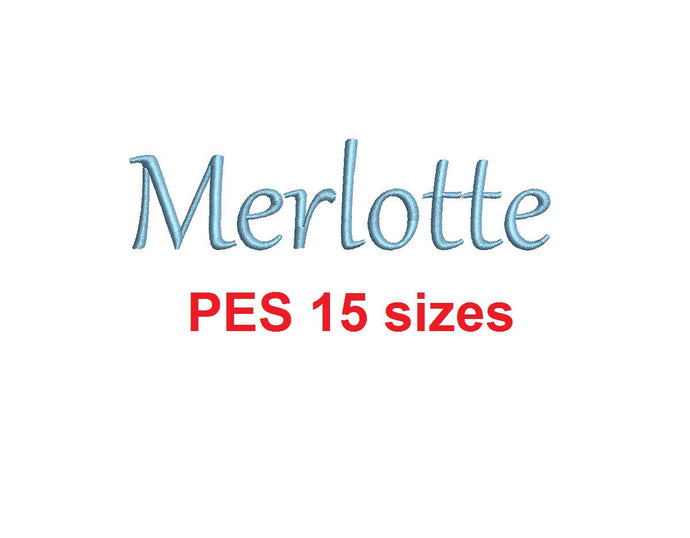 Merlotte embroidery font PES format 15 Sizes 0.25 (1/4), 0.5 (1/2), 1, 1.5, 2, 2.5, 3, 3.5, 4, 4.5, 5, 5.5, 6, 6.5, and 7 inches