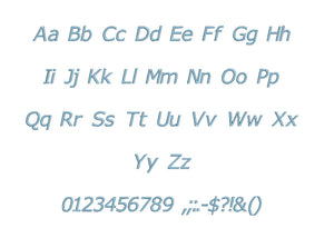 Veranda Italic embroidery BX font Sizes 0.25 (1/4), 0.50 (1/2), 1, 1.5, 2, 2.5, 3, 3.5, 4, 4.5, 5, 5.5, 6, 6.5, and 7 inches