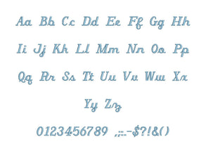 Italian Script embroidery BX font Sizes 0.25 (1/4), 0.50 (1/2), 1, 1.5, 2, 2.5, 3, 3.5, 4, 4.5, 5, 5.5, 6, 6.5, and 7 inches
