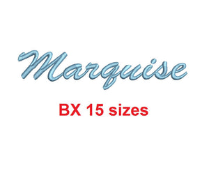 Marquise embroidery BX font Sizes 0.25 (1/4), 0.50 (1/2), 1, 1.5, 2, 2.5, 3, 3.5, 4, 4.5, 5, 5.5, 6, 6.5, and 7 inches