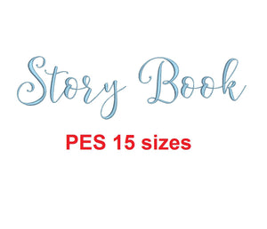 Story Book embroidery font PES format 15 Sizes 0.25 (1/4), 0.5 (1/2), 1, 1.5, 2, 2.5, 3, 3.5, 4, 4.5, 5, 5.5, 6, 6.5, and 7 inches