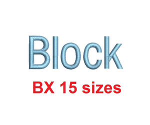 Block embroidery BX font Sizes 0.25 (1/4), 0.50 (1/2), 1, 1.5, 2, 2.5, 3, 3.5, 4, 4.5, 5, 5.5, 6, 6.5, and 7 inches