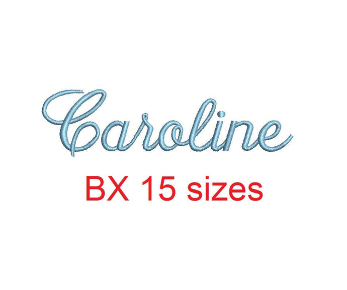 Caroline embroidery BX font Sizes 0.25 (1/4), 0.50 (1/2), 1, 1.5, 2, 2.5, 3, 3.5, 4, 4.5, 5, 5.5, 6, 6.5, and 7 inches