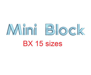 Mini Block embroidery BX font Sizes 0.25 (1/4), 0.50 (1/2), 1, 1.5, 2, 2.5, 3, 3.5, 4, 4.5, 5, 5.5, 6, 6.5, and 7 inches