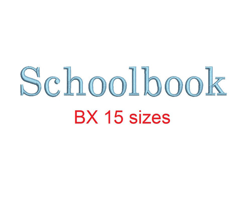 Schoolbook embroidery BX font Sizes 0.25 (1/4), 0.50 (1/2), 1, 1.5, 2, 2.5, 3, 3.5, 4, 4.5, 5, 5.5, 6, 6.5, and 7 inches