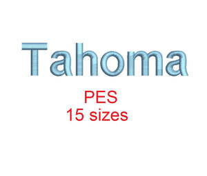 Tahoma embroidery font PES format 15 Sizes 0.25 (1/4), 0.5 (1/2), 1, 1.5, 2, 2.5, 3, 3.5, 4, 4.5, 5, 5.5, 6, 6.5, and 7 inches