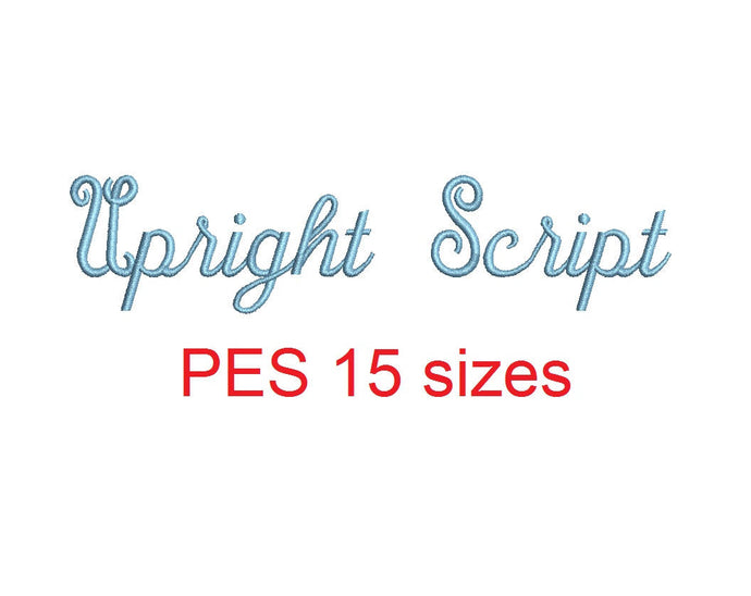 Upright Script embroidery font PES format 15 Sizes 0.25 (1/4), 0.5 (1/2), 1, 1.5, 2, 2.5, 3, 3.5, 4, 4.5, 5, 5.5, 6, 6.5, and 7 inches
