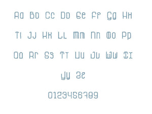 La Grosse Cochone embroidery font PES format 15 Sizes 0.25, 0.5, 1, 1.5, 2, 2.5, 3, 3.5, 4, 4.5, 5, 5.5, 6, 6.5, and 7 inches
