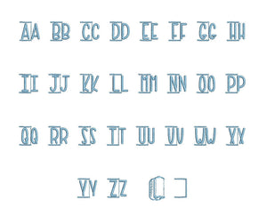Paper Towel embroidery font PES format 15 Sizes 0.25, 0.5, 1, 1.5, 2, 2.5, 3, 3.5, 4, 4.5, 5, 5.5, 6, 6.5, and 7 inches