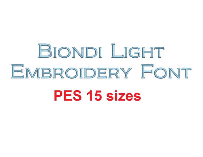 Biondi™ block embroidery font PES 15 Sizes 0.25 (1/4), 0.5 (1/2), 1, 1.5, 2, 2.5, 3, 3.5, 4, 4.5, 5, 5.5, 6, 6.5, and 7 inches (RLA)