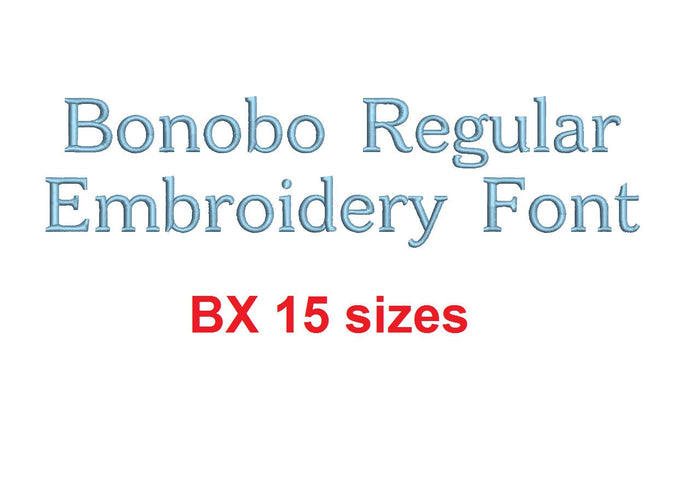 Bonobo Regular™ block embroidery BX font Sizes 0.25 (1/4), 0.50 (1/2), 1, 1.5, 2, 2.5, 3, 3.5, 4, 4.5, 5, 5.5, 6, 6.5, and 7 inches (RLA)