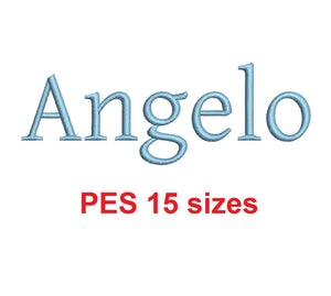 Angelo embroidery font PES format 15 Sizes instant download 0.25, 0.5, 1, 1.5, 2, 2.5, 3, 3.5, 4, 4.5, 5, 5.5, 6, 6.5, and 7 inches
