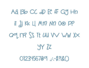 Bambino embroidery BX font Sizes 0.25 (1/4), 0.50 (1/2), 1, 1.5, 2, 2.5, 3, 3.5, 4, 4.5, 5, 5.5, 6, 6.5, and 7 inches