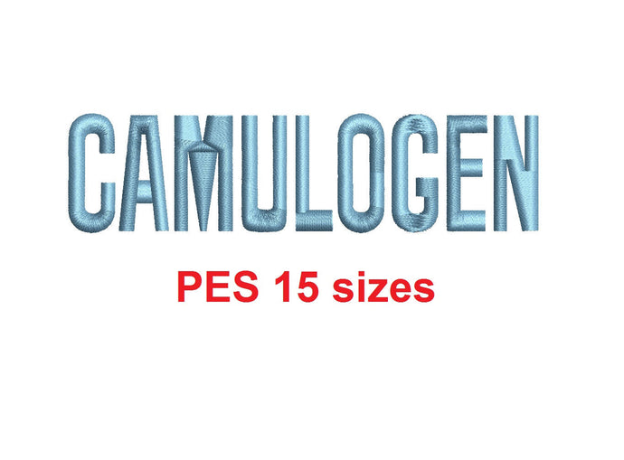 Camulogen™ block embroidery font PES 15 Sizes 0.25 (1/4), 0.5 (1/2), 1, 1.5, 2, 2.5, 3, 3.5, 4, 4.5, 5, 5.5, 6, 6.5, and 7