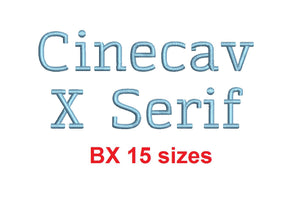 Cinecav X Serif™ block embroidery BX font Sizes 0.25 (1/4), 0.50 (1/2), 1, 1.5, 2, 2.5, 3, 3.5, 4, 4.5, 5, 5.5, 6, 6.5, and 7 inches (RLA)